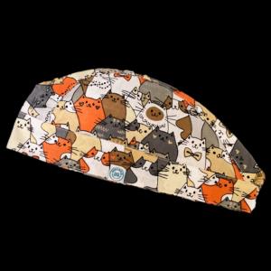 Színes cica mintás Műtős sapka - Szürke/Narancs