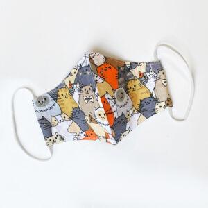 Színes Cica mintás textil maszk - Állítható gumipánttal - Kétrétegű - Szürke/Narancs