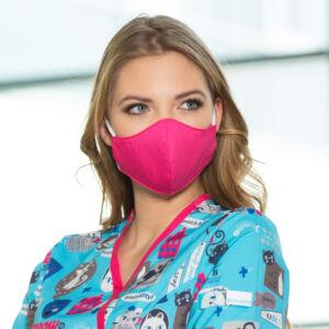 Textil maszk kétrétegű - Állítható laposgumival  - Női S/M méret - Magenta szín