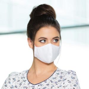 Textil maszk kétrétegű - Állítható laposgumival - Női S/M méret - Fehér