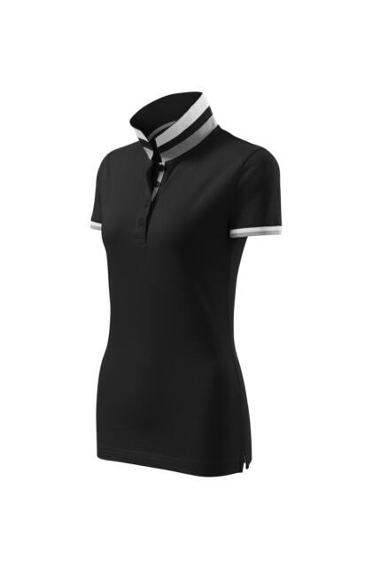 Galléros póló női - COLLAR UP 257 01 BLACK (S)