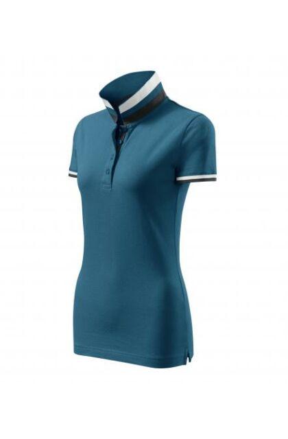 Galléros póló női - COLLAR UP 257 93 Petrol kék (S)