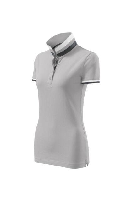Galléros póló női - COLLAR UP 257 A4 Ezüstszürke (S)