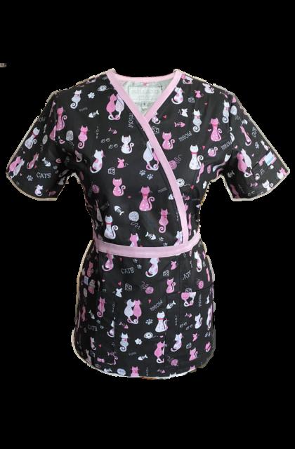 OUTLET - MIAU! fekete-pink Cica mintás felső - anyaghibás termék