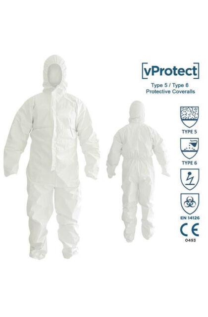 Overál Type 5/6 - Egészségügyi kapucnis védőoverál - Látogatói ruha