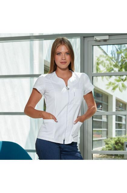 Rebeka - cipzáros rövid tunika - fehér