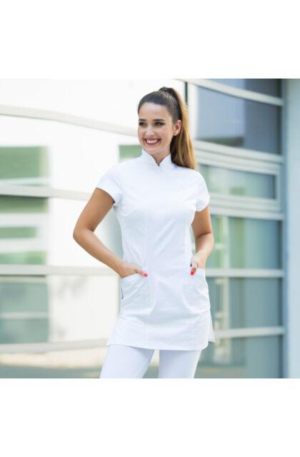 Claudia női tunika - MILLAND UNIQUE - Fehér Stretch - Antibakteriális - vízlepergető anyag