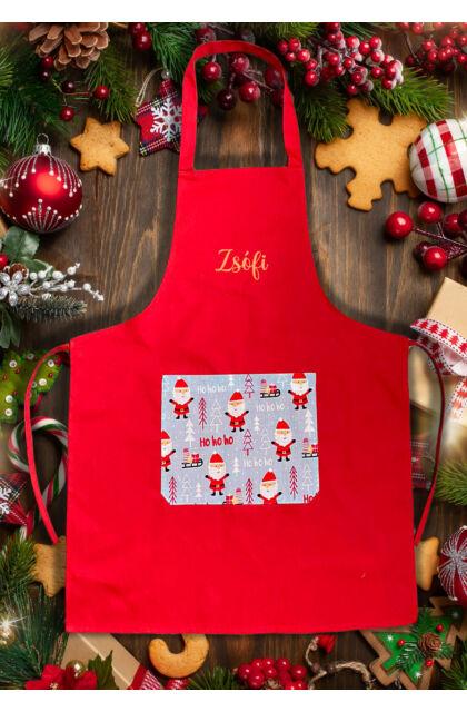 Dear Santa Claus! - Karácsonyi kötény - Mikulás mintás - Egyedi hímzéssel is kérhető!
