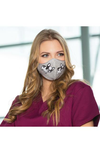 Francia Bulldog Mintás textil maszk - Állítható laposgumival - Kétrétegű