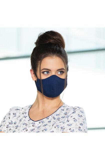 Textil maszk kétrétegű - Állítható laposgumival - Női S/M méret - Sötétkék